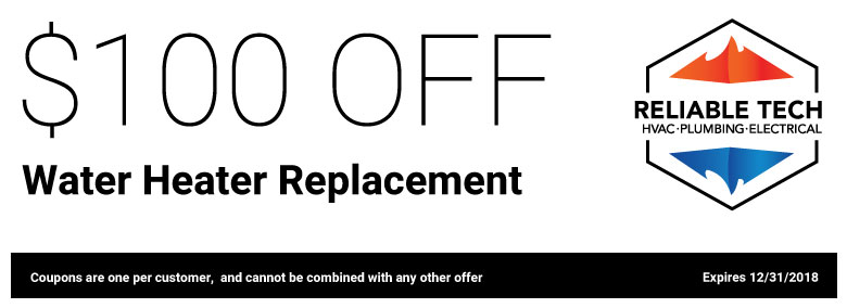 $100 off water heater replacement.